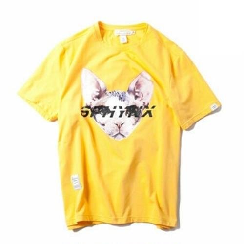送料無料/メンズ/大きいサイズ/黒/黄色/オレンジ/猫ロゴ/半袖Tシャツ