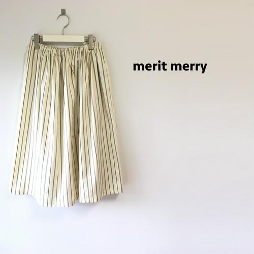 ストライプギャザースカート ホワイト