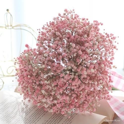 ハート型♡ラスティックかすみ草ブーケ*(ピンク)