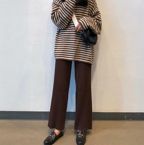 4色 ワイドパンツ ニット リブ ボトムス ロング ウエストゴム ゆったり カジュアル 大人可愛い 韓国 オルチャン ファッション