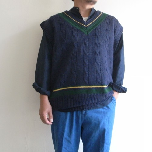 is-ness  【 mens 】zakkuri tilden knitted  vest