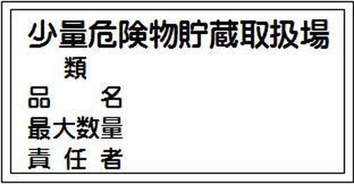 少量危険物貯蔵取扱場、類、品名、最大数量、責任者   SM06