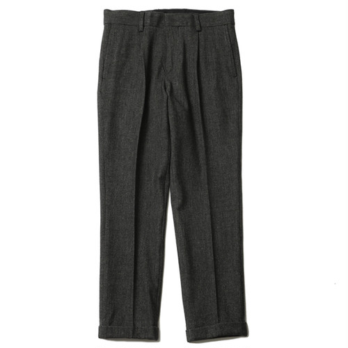 EMBROIDERED TUCK TROUSERS(MIX BLACK) / RUDE GALLERY