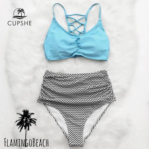 【FlamingoBeach】blue high west bikini ハイウェストビキニ