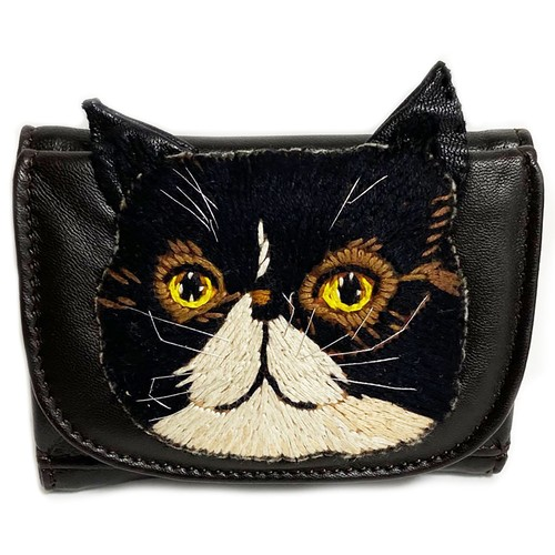 ねこミニ財布 black cat/DARK BROWN