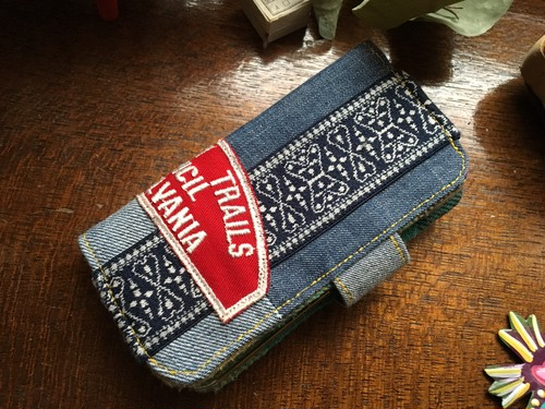 denim patchwork × vintage patch iPhone case