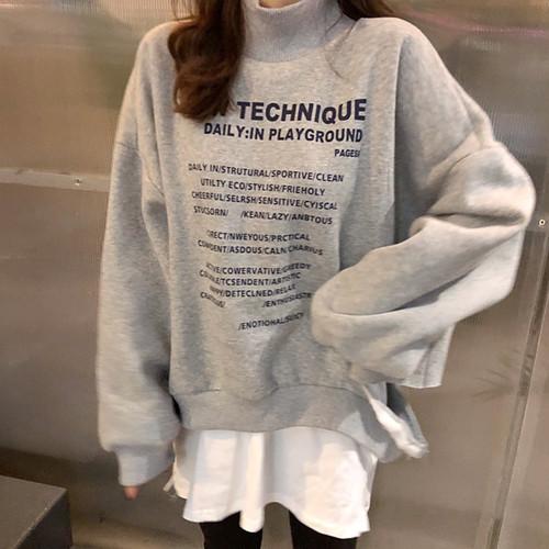 【トップス】新品韓国風切り替えし合わせやすい長袖ダメージ加工パーカー
