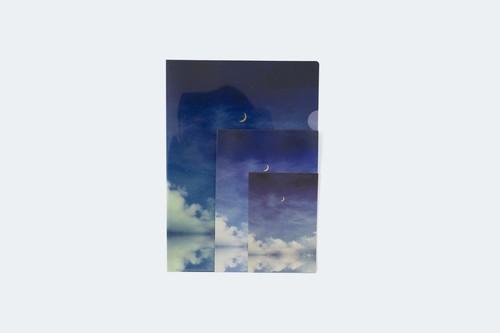 夜空と湖を描いた、3点セット|クリアファイル、ポストカード、レターセット