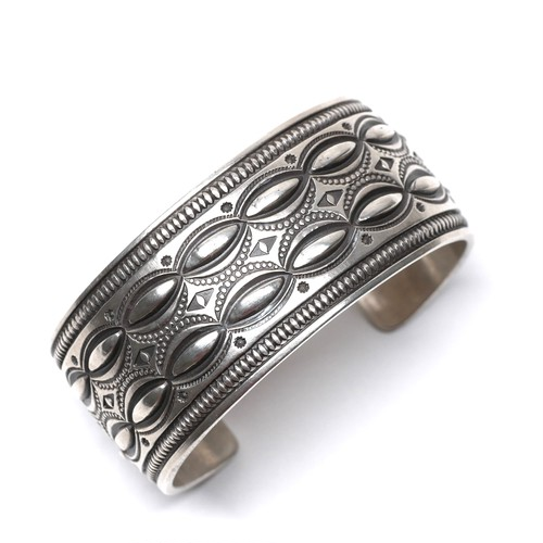 Navajo Repousse & Stampwork Bangle by Calvin Martinez