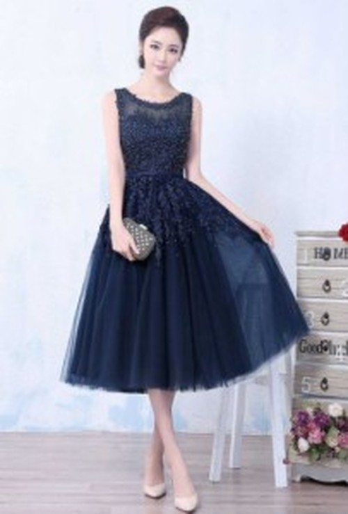 イブニングドレス ビーズ 刺繍 レース 紺 ノースリーブ フレアスカート オーガンジー パーティ 二次会 お嬢様 エレガント ロング