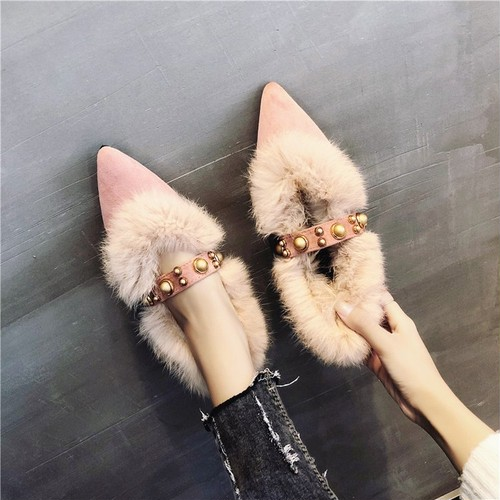 【シューズ】ファッションリベットローヒールローヒールパンプス23476859