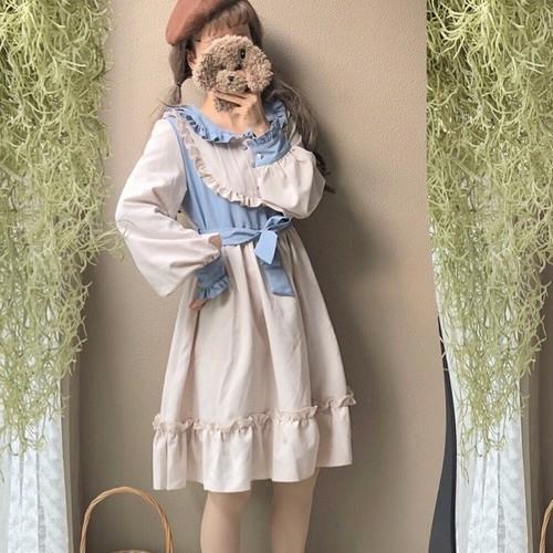 【ワンピース】日系清新スウィート配色ラウンドカラーカジュアルワンピース