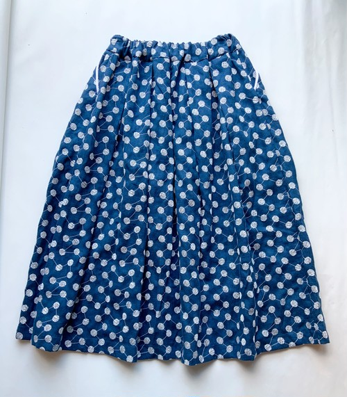 【tuck volume SK】linen embroidery/ターコイズブルー/original textile