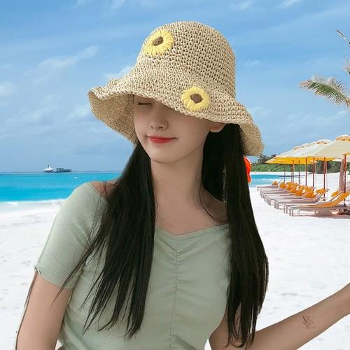 【小物】夏清新人気折り畳み式日よけストローハット