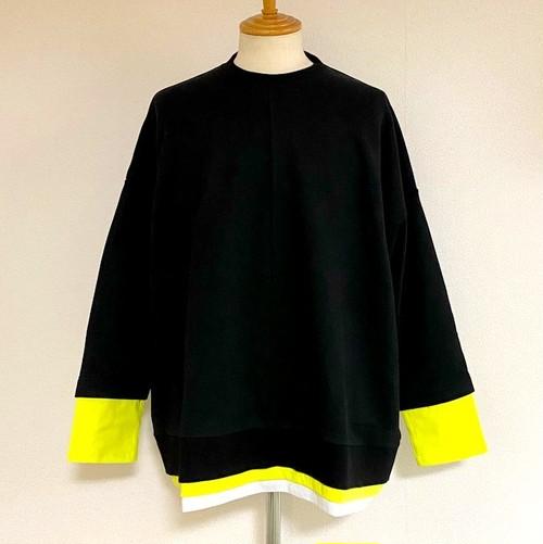 Layered Design Big Sweat Pullover Black