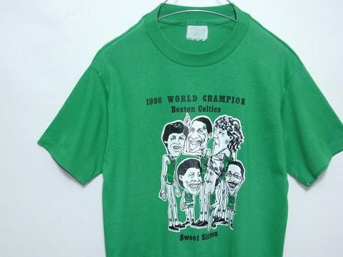 1980's NBA BOSTON CELTICS '86ワールドチャンピオンTシャツ 緑 実寸(S~M) セルティックス