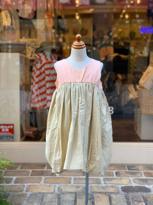 KIDS:frankygrow【フランキーグロウ】/V-NECK DRESS DYED:PINK-BEIGE(LL/145cm)ワンピース