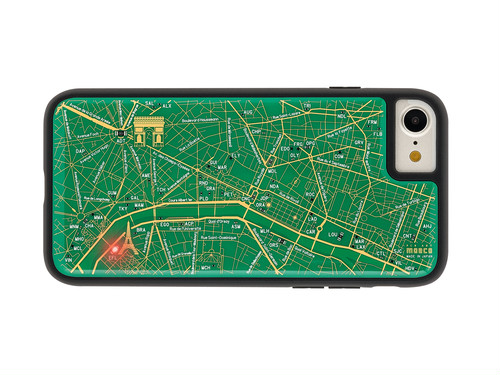 FLASH Paris回路地図 iPhone7/8 ケース 緑【東京回路線図A5クリアファイルをプレゼント】