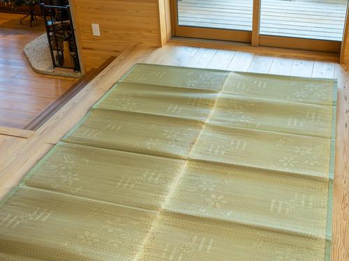 福岡花ござラグ 紋織 花松川 無地 約191x250cm