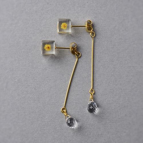 宝石質AAAクォーツとミモザのピアス(レジン, 誕生石, ステンレス, 送料無料)