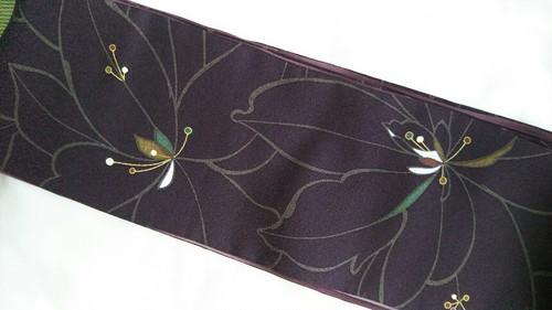 手縫い 半巾帯 染めリバーシブル 絹 似せ紫