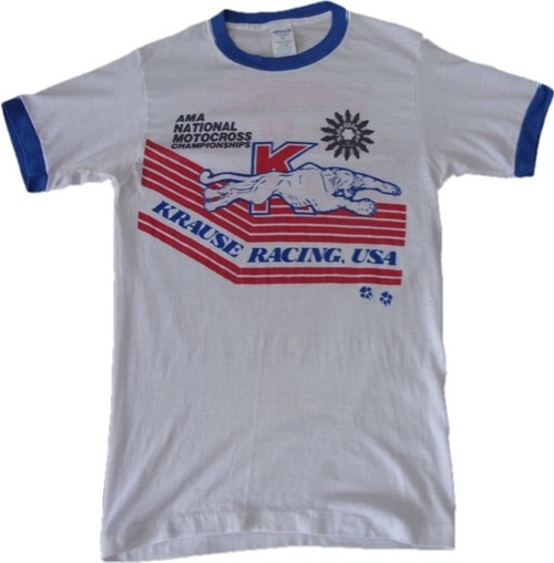 80's Ched KRAUSE RACING AMA NATIONAL CHAMPIONSHIPS Print T-Shirts(白)