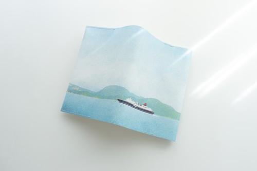 青い空と船を描いた、ブックカバー