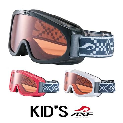 子供用 AXE アックス スノーゴーグル 日本製 ax220-d [ メガネの上から着用可能 ] [ スキー スノボー キッズ ジュニア アイウェアー 人気 モデル プレゼント としても オススメ ][ホワイト ブラック レッド] 男の子 女の子 ゴーグル