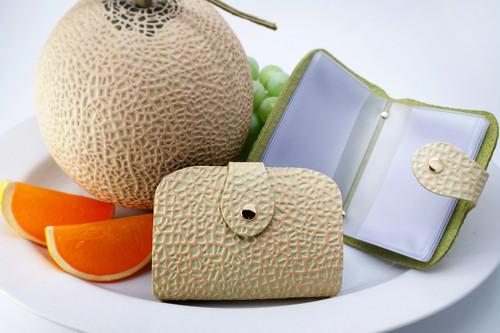 牛革製・クラウンメロンなカードホルダー/静岡クラウンメロンコラボ