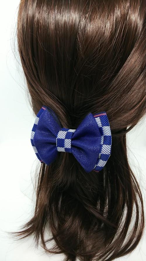 縁結びヘアゴム「市松模様」BLUE W