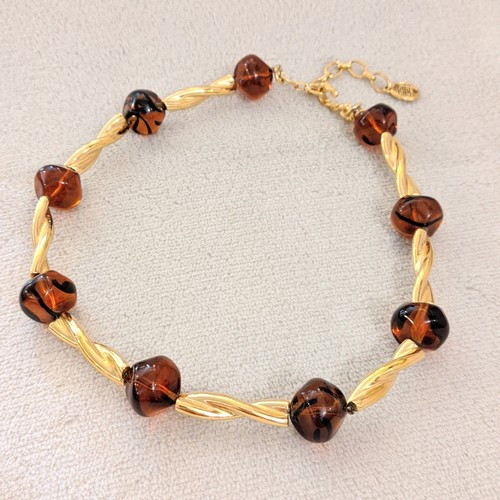 vintage necklace -GIVENCHY- brown