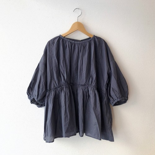 nouvelles du paradis スーピマコットンギャザーブラウス…From India... charcoal navy