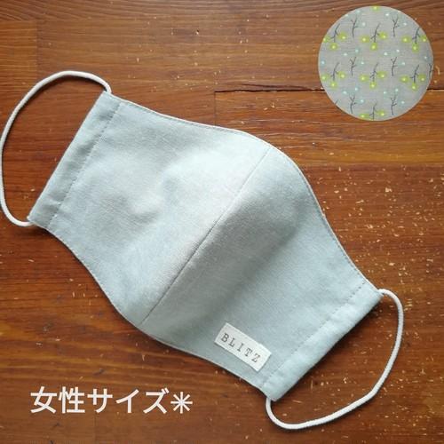 立体マスク [女性サイズ] ☆ コットン×北欧風小枝柄
