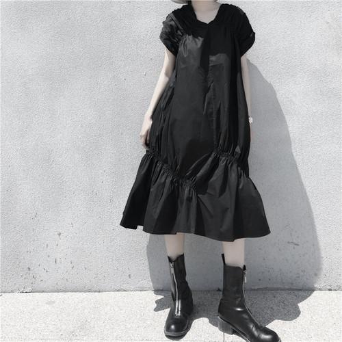 ゴスロリ系 ワンピ 半袖 プリーツ 裾ギャザー 半袖 病み可愛い オルチャン ストリート系 原宿系 10代 20代