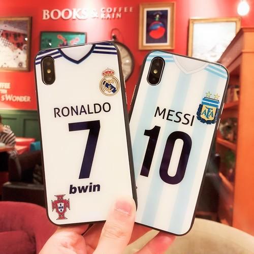 かっこいい ワールドカップ 大人気 サッカースター Cristiano Ronaldo Messi 背番号 アイフォンテンケース  耐衝撃 iphone8/7 ケース 強化ガラス製 iphone6plusハードケース 送料無料