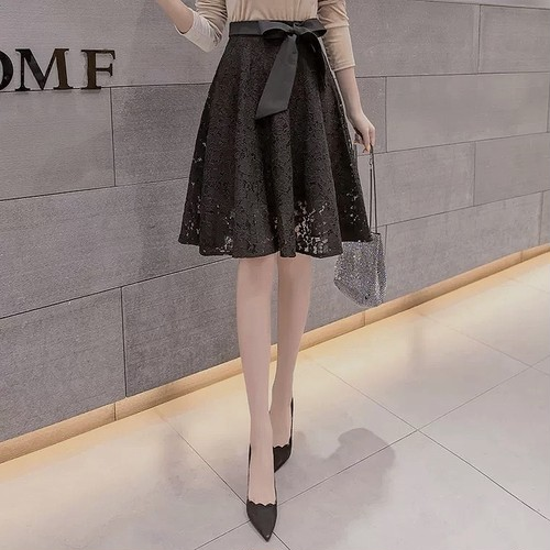 waist ribbon lace skirt 2color