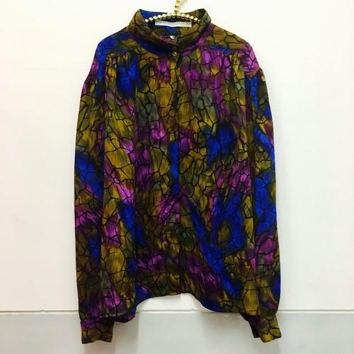 crack print volume blouse
