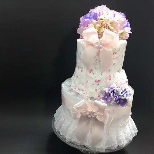 紫陽花(あじさい)バージョンおむつケーキ(2段スタンダード)