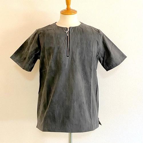 Tie Dye Twill Half Zip Pullover Black