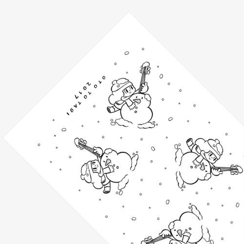 """マムアンちゃん""""雪だるま""""手ぬぐい(黒)"""