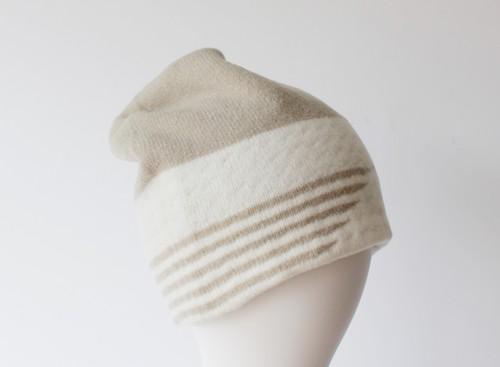 % PERCENT ニット帽 DOT(ベージュ・ホワイト)セルフヒーター・フリーサイズ・リバーシブル・ホールガーメント・男女兼用・ギフト箱付