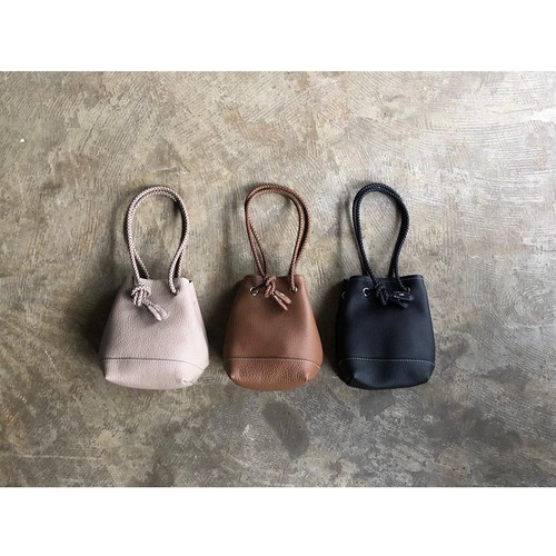 blancle(ブランクレ) Lordship Leather Mesh Rope Draw Bag SMALL
