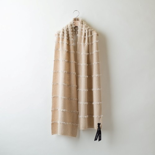 FEATHER YARN BORDER STOLE (Beige)  DBA0002