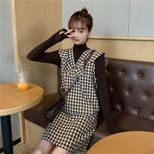 【セットアップ】韓国系長袖ハイネックTシャツ+ファッションスウィートチェック柄ワンピース