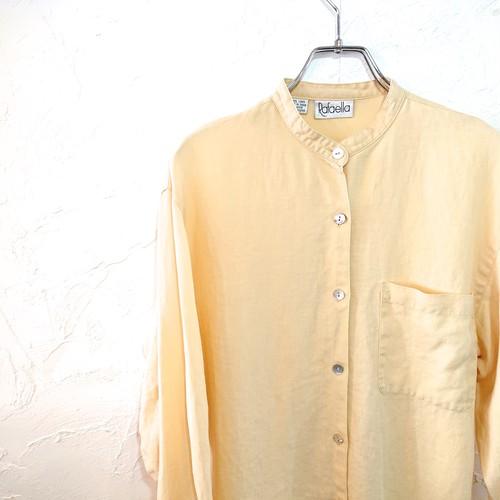 【USED】バンドカラー リネンシャツ ライトイエロー