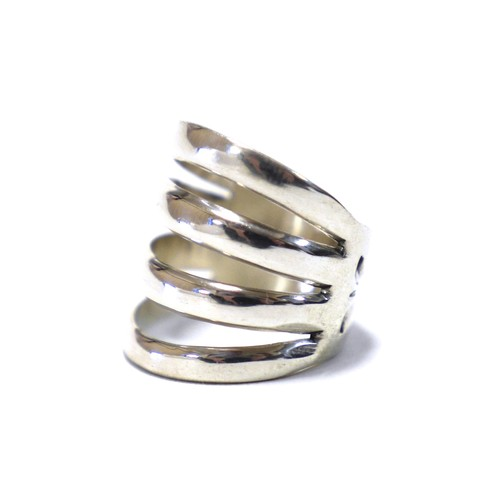 Navajo Sterling Silver 4 Sprit & Stamp Ring by Wilbert Benally