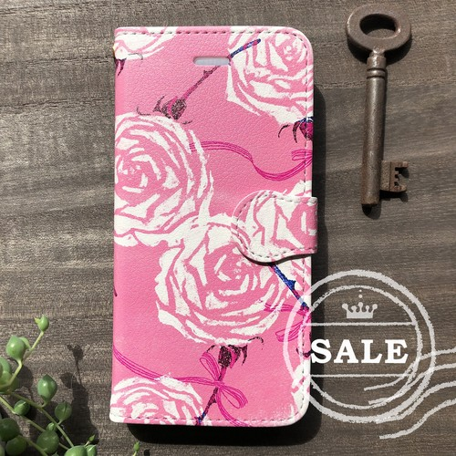 iPhoneX限定SALE♪ 帯付き手帳型スマホケースカバー「リボンローズ」