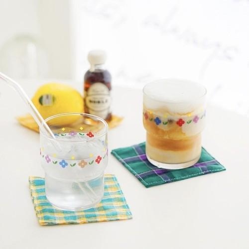 flower line glass cup 270ml / 韓国 レトロ フラワー コップ