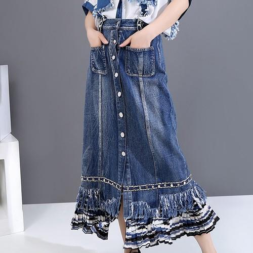 異素材 デニムスカート Aライン フロントボタン 韓国ファッション レディース ロング ハイウエスト 大人カジュアル 大人可愛い ガーリー