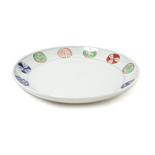 染錦丸紋7寸丸皿